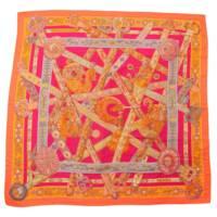 カレ140 カシミヤ シルクスカーフ ジェアン LE SONGE DE LA LICORNE ショール ピンク