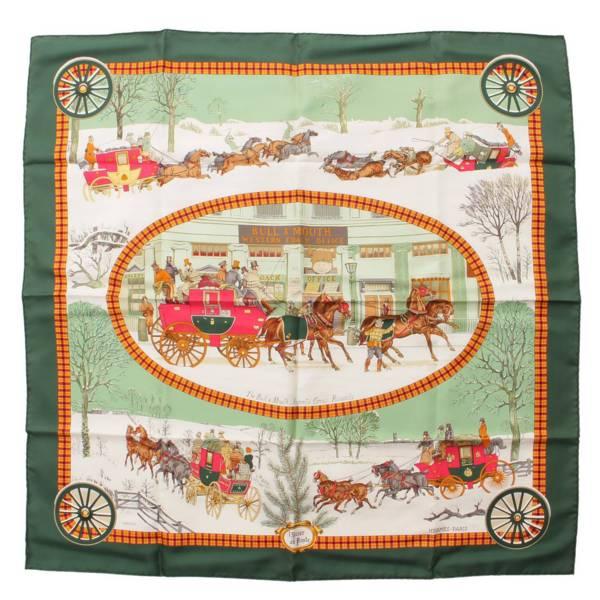 カレ90 シルクスカーフ L'HIVER EN POSTE 冬の郵便馬車 グリーン