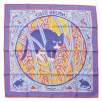 カレ90 シルクスカーフ CAVE FELEM 猫に注意 ブルー