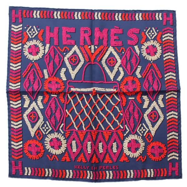カレ45 シルクスカーフ KELLY EN PERLES 真珠でできているケリー ネイビー
