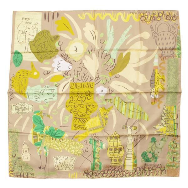 カレ90 シルクスカーフ La Maison des Oiseaux Parleurs ブラウン