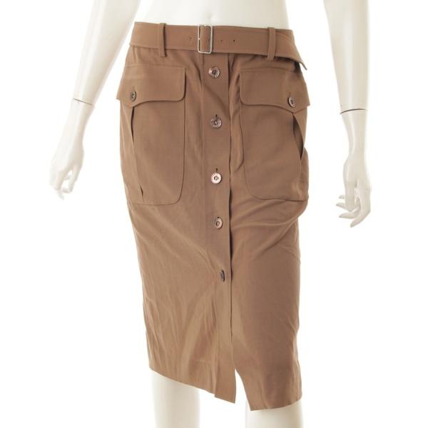 フロントボタン トレンチ スカート ブラウン 38