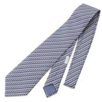 シルク 総柄 ネクタイ ブルー
