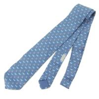 シルク ネクタイ ネコ ネズミ柄 ブルー