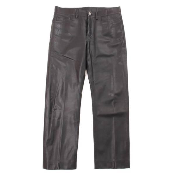 セリエボタン レザー ストレート パンツ 38 ブラック