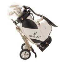 ミニチュアキャディバッグ 雑貨 置物 ゴルフ クラブ・ボール付き ホワイト