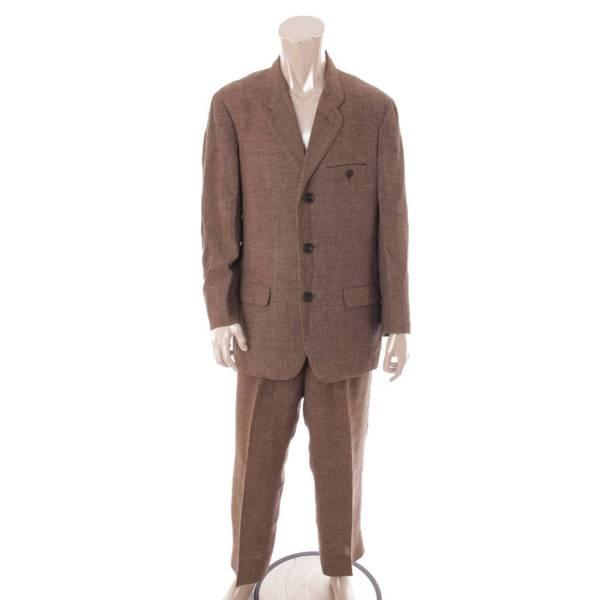 リネン混 3ボタン セットアップ スーツ ジャケット パンツ カーキ