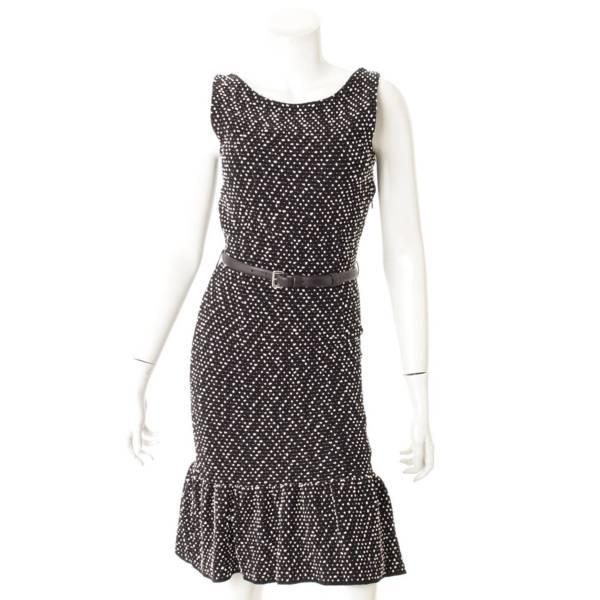 ドット柄 マーメイド ベルトワンピース ドレス ブラック×ホワイト 36