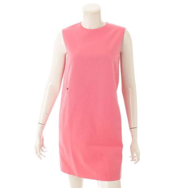 ビー刺繍 シルク混 ワンピース ドレス ピンク 34