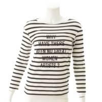 ボーダー ロゴ カットソー Tシャツ ブラック×ホワイト XS