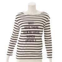 ボーダー ロゴ カットソー Tシャツ ブラック×ホワイト S