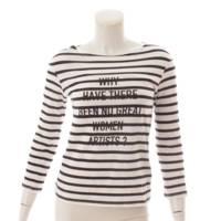 ボーダー ロゴ Tシャツ カットソー トップス ホワイト ブラック XS