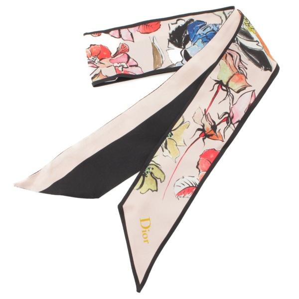 ミッツァ ツイリー シルクスカーフ 花柄 ピンク