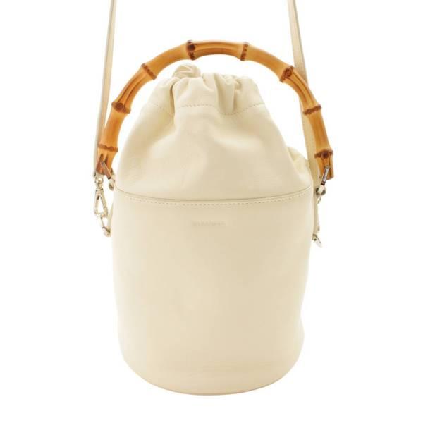 20SS バンブーハンドル バケット 2WAYハンドバッグ 巾着 ホワイト