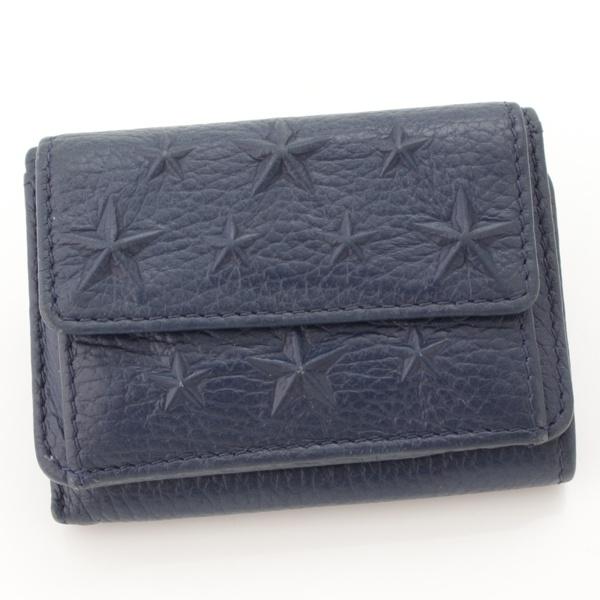 スターエンボス レザー スモールウォレット 三つ折り 財布 ネイビー