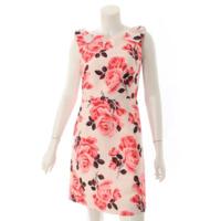 花柄 フラワー リボン ノースリーブ フレア ワンピース ピンク 2