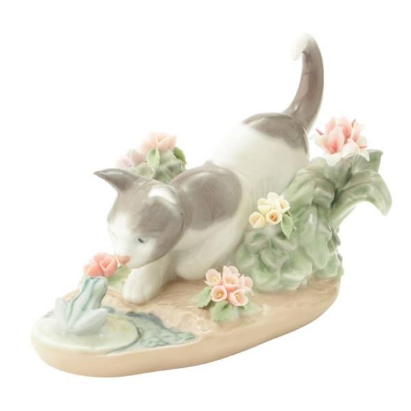 にらみあい 猫 ネコ 陶器人形 置物 インテリア 1442