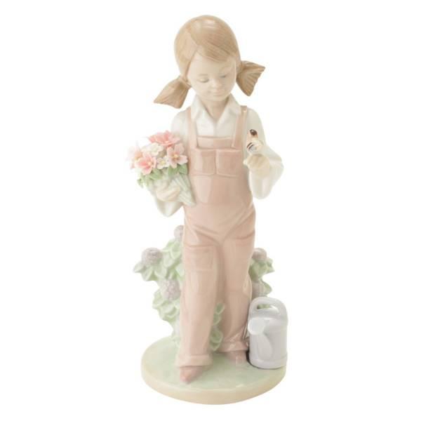 小鳥と話す少女 置物 人形 陶器 インテリア 5217