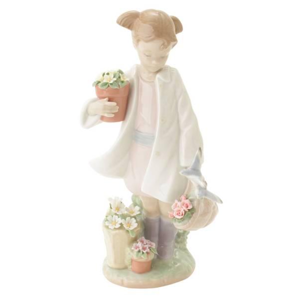 雨上がりの午後に少女 置物 人形 陶器 インテリア 8240