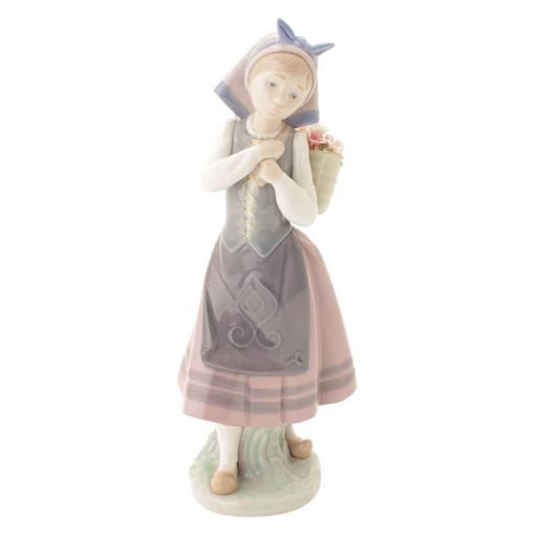 花籠を背負う少女 Galleguina flores espalda 陶器 人形 フィギュリン 1417