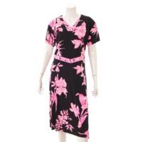花柄 フラワー ワンピース ブラック ピンク 40