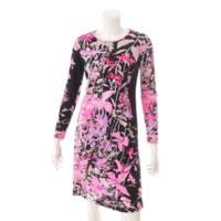 シルク ワンピース ドレス 花柄 フラワー ブラック ピンク 36