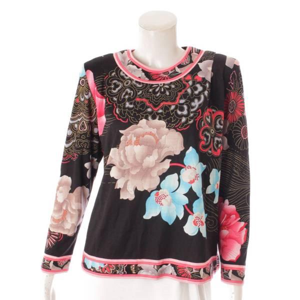 花柄 シルク混 長袖 トップス カットソー フラワー ブラック 38