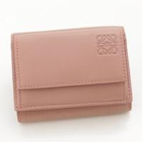 リネン ミニ コンパクトウォレット 三つ折り財布 ピンク