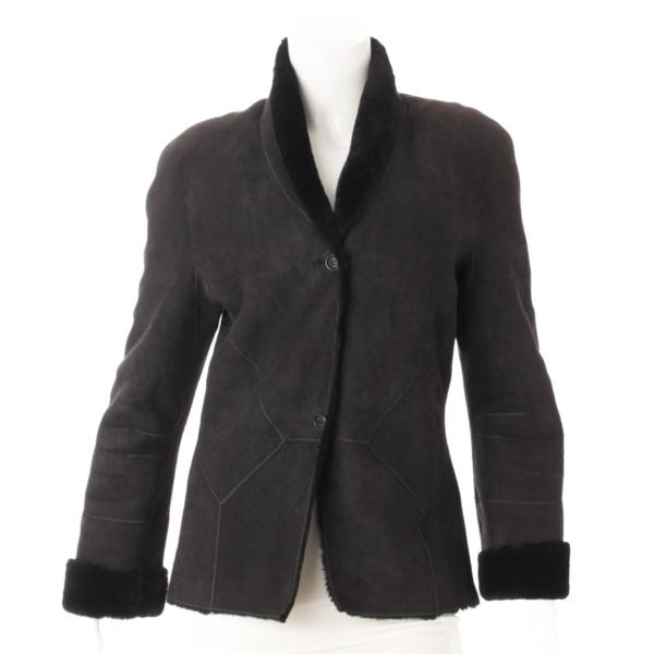 ムートン ショールカラー ジャケット ブラック 40