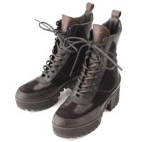 モノグラム スエード ブーツ ブラック 37