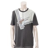 メンズ コットン グラフィックプリント Tシャツ グレー L