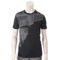 メンズ コットン グラフィックプリント Tシャツ ブラック XS