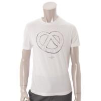 メンズ コットン プレッツェル プリント Tシャツ ホワイト XS