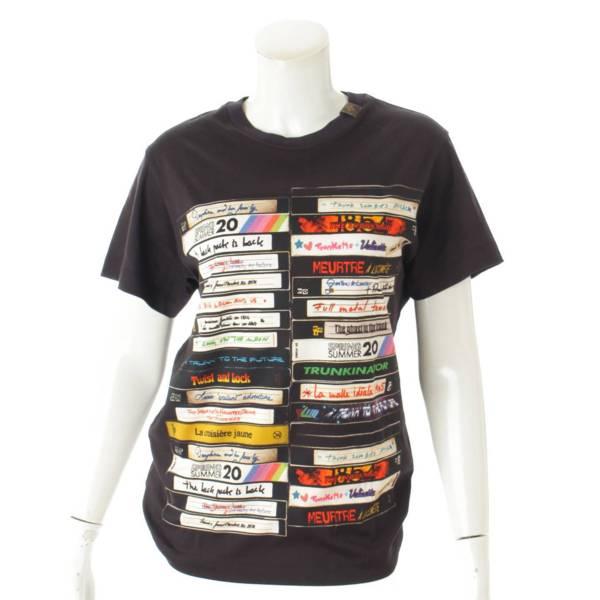 20SS VHSビデオ プリント Tシャツ モノグラム ロゴ ブラック S