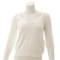 コットンパンチングロゴ ニット セーター ホワイト M