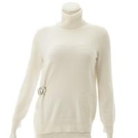 カシミア ハイネック ベルト付き セーター ホワイト XS