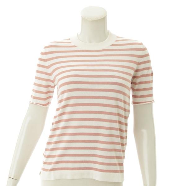 シルク ボーダーニットTシャツ ピンク XS