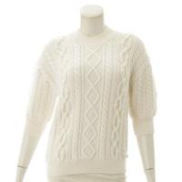 ケーブルニット 半袖 セーター ホワイト XS