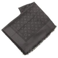 モノグラム ショール ウール シルク スカーフ チャコールグレー