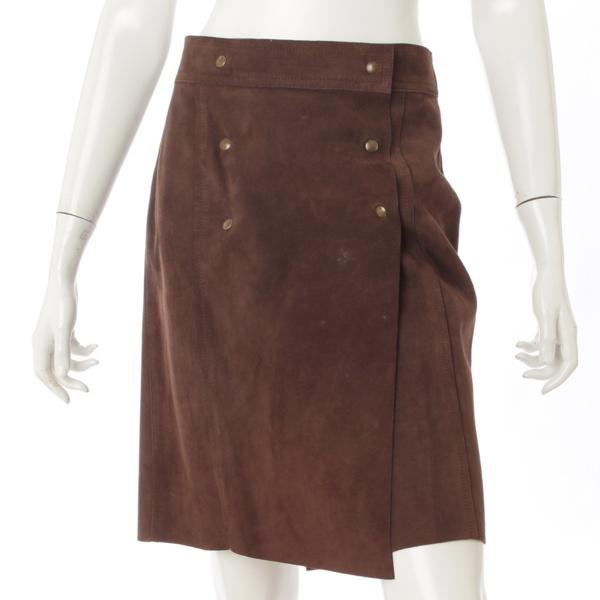 スエード レザー ラップスカート ブラウン 38