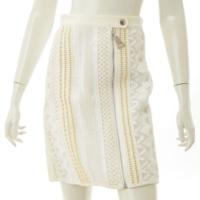 フロントジップ スカート ホワイト 36