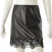 レース切替 レザースカート ブラック 36