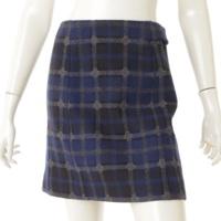 ウール チェック 台形 スカート ネイビー 34