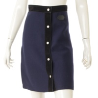 フロントボタン ウール スエード スカート ネイビー XS