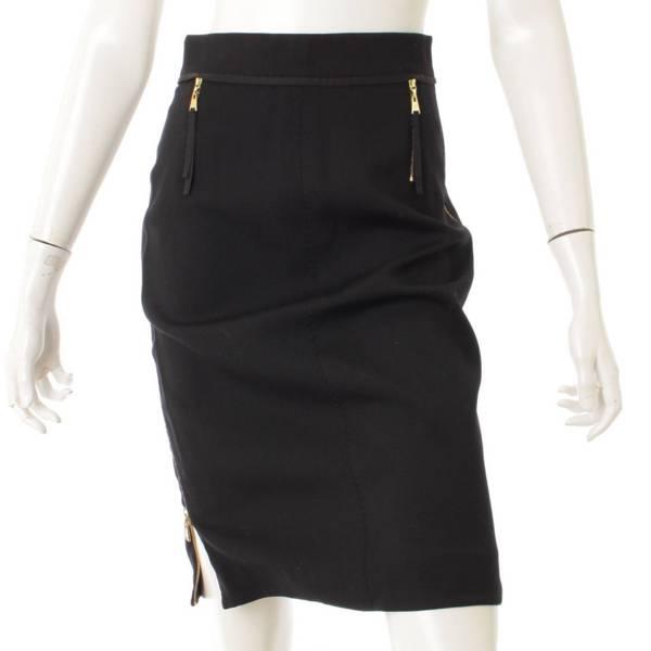 ジップデザイン スカート ブラック 36