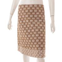 シルク混 総柄 台形スカート ブラウン×ベージュ 38