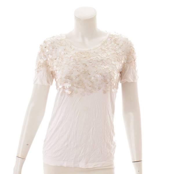 スパンコール Tシャツ ホワイト S