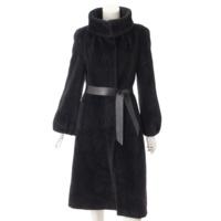 アルパカ ウール スタンドカラー コート ブラック 42