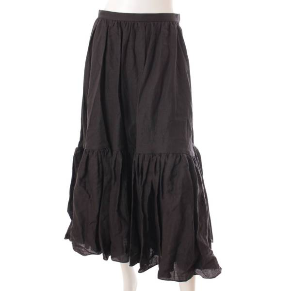 21SS HEM GATHER SK ヘムギャザー スカート MB211-6013 ブラック 01
