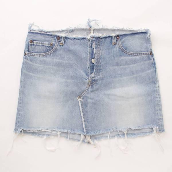 デニム 台形 スカート ブルー 02